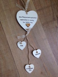 Shabby personalised Gift Chic Heart Plaque Renewing Renewel Wedding Vows Gift